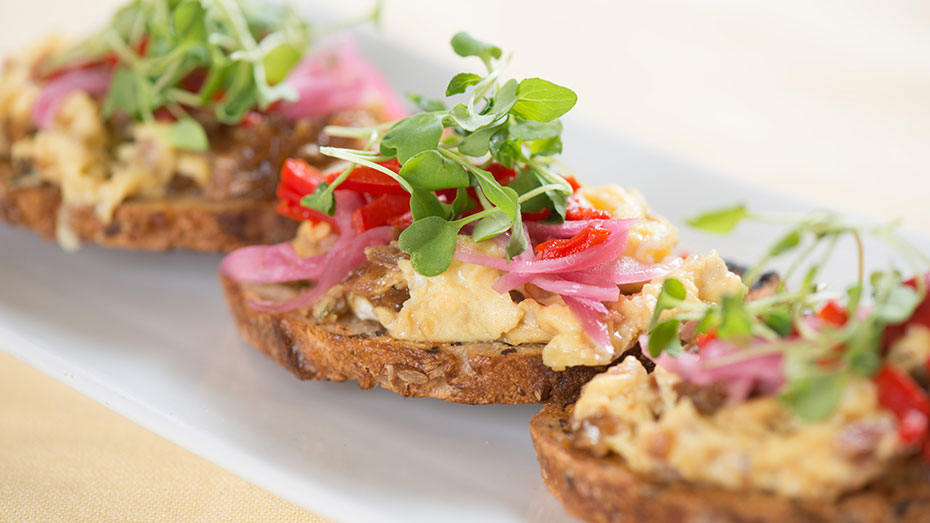Scrambled Egg Pickled Onion Toast