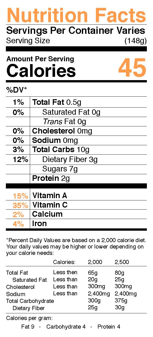 Nutrition Facts Sunburst